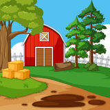 Farm scene with barn and trees stock illustration
