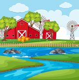 Farm scene with barns and river. Illustration Stock Image