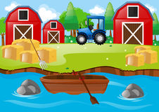 Farm scene with barns and tractor royalty free illustration