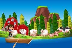 Farm scene with boy and animals. Illustration royalty free illustration