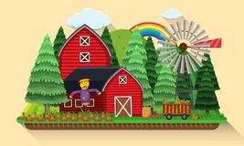 Farm scene with carrots garden and red barns Stock Images