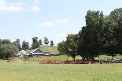 Farm Scene. Classic farm scene of tractors, barn, grass, trees, and fence Stock Photos