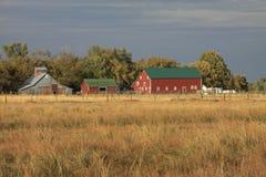 Farm Scene. Colorful farm scene across Prairie Grass inthe distance Stock Images