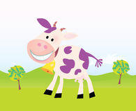 Farm scene with cow. Vector cartoon. Royalty Free Stock Images