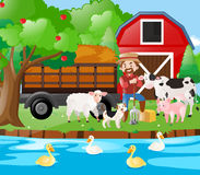 Farm scene famer and farm animals by the river stock illustration