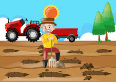Farm scene with farmer making holes in the ground. Illustration Stock Photography