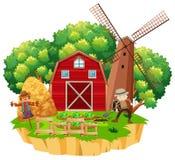 Farm scene with farmer planting vegetables Stock Image