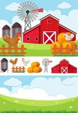 Farm scene with field and chickens. Illustration Royalty Free Stock Image