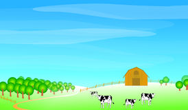 Farm scene illustration royalty free illustration