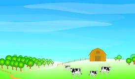 Farm scene illustration Royalty Free Stock Image