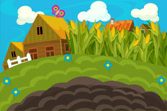 The farm scene for kids - cartoon background Stock Photography