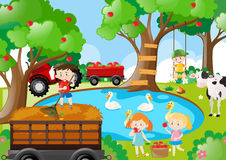 Farm scene with kids working stock illustration