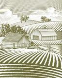 Farm Scene Landscape. Woodcut style illustration of a rural farm scene Royalty Free Stock Photo