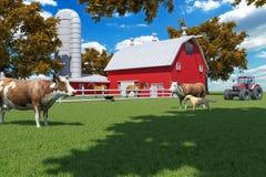 Farm scene with red barn and farm animals Vector Illustration