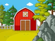 Farm scene with red barn in the field Royalty Free Stock Photography