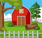 Farm scene with red barn Stock Photo