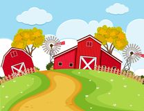 Farm scene with red barns and turbines. Illustration Royalty Free Stock Images