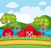 Farm scene with red barns and wind turbines. Illustration Royalty Free Stock Photography