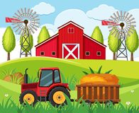 Farm scene with red tractor and barn on the hills royalty free illustration