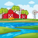 Farm scene with river and barns. Illustration Stock Photography