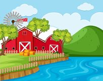 Farm scene with river and mountain. Illustration Royalty Free Stock Images