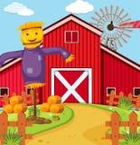 Farm scene with scarecrow and barn. Illustration Stock Photos
