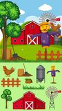 Farm scene with scarecrow and other elements. Illustration Royalty Free Stock Photo