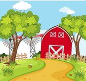 Farm scene with small barn and turbines stock illustration
