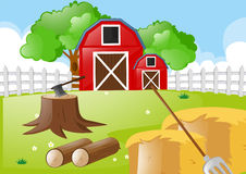 Farm scene with tools in the field Royalty Free Stock Photography