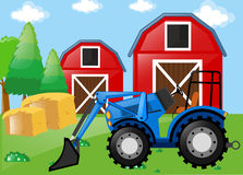 Farm scene with tractor on the field. Illustration Royalty Free Stock Images
