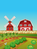 Farm scene with vegetable garden and barn Royalty Free Stock Images