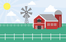 Farm scene with windmill Stock Photo