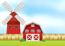 Farm scene with windmill and barn Royalty Free Stock Photo