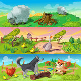 Farm Scenes Banners Set. Cartoon animals three horizontal banners set with sheep in field fowl and dog defending chicken from fox vector illustration Stock Image