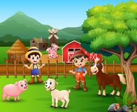 Farm scenes with different animals and farmers in the farmyard. Illustration of Farm scenes with different animals and farmers in the farmyard vector illustration