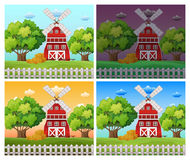 Farm scenes at different time of day Stock Photo