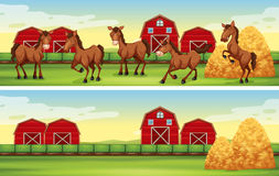 Farm scenes with horses and barns. Illustration Stock Photography