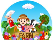Farm scenes with many animals and farmers Stock Photography