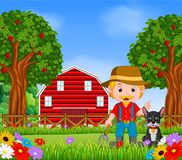 Farm scenes with many animals and farmers. Illustration of Farm scenes with many animals and farmers Royalty Free Stock Images
