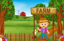 Farm scenes with many animals and farmers. Illustration of Farm scenes with many animals and farmers Stock Images