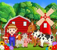 Farm scenes with many animals and farmers Royalty Free Stock Images