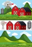 Farm scenes with red barns and windmill. Illustration Royalty Free Stock Image