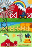 Farm scenes with windmill and hay. Illustration Royalty Free Stock Images