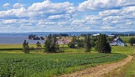 Farm by the sea, Nova Scotia Stock Photography