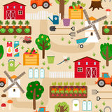 Farm seamless pattern with tractor and beds, apple Stock Photos