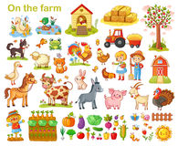 Farm set with animals. Farm set with animals, pets, livestock and vegetables on a white background. Young farmers and farming. Vector illustration Royalty Free Stock Image