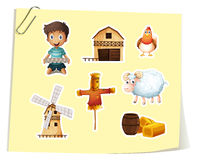 Farm set with boy and farm objects Royalty Free Stock Photography