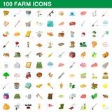 100 farm set, cartoon style. 100 farm set in cartoon style for any design illustration stock illustration