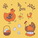 Farm set: chicken, chicks, basket with eggs, nest, twigs with le Royalty Free Stock Photo