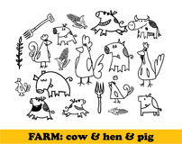 Farm set - cows, hens, pigs Royalty Free Stock Photos